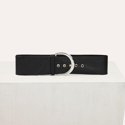Extra wide calfskin leather belt : Accessoires color Black 210