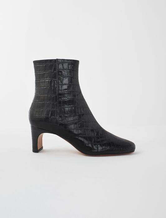 Bottines cuir embossé croco : Chaussures_Toutvoir couleur Noir