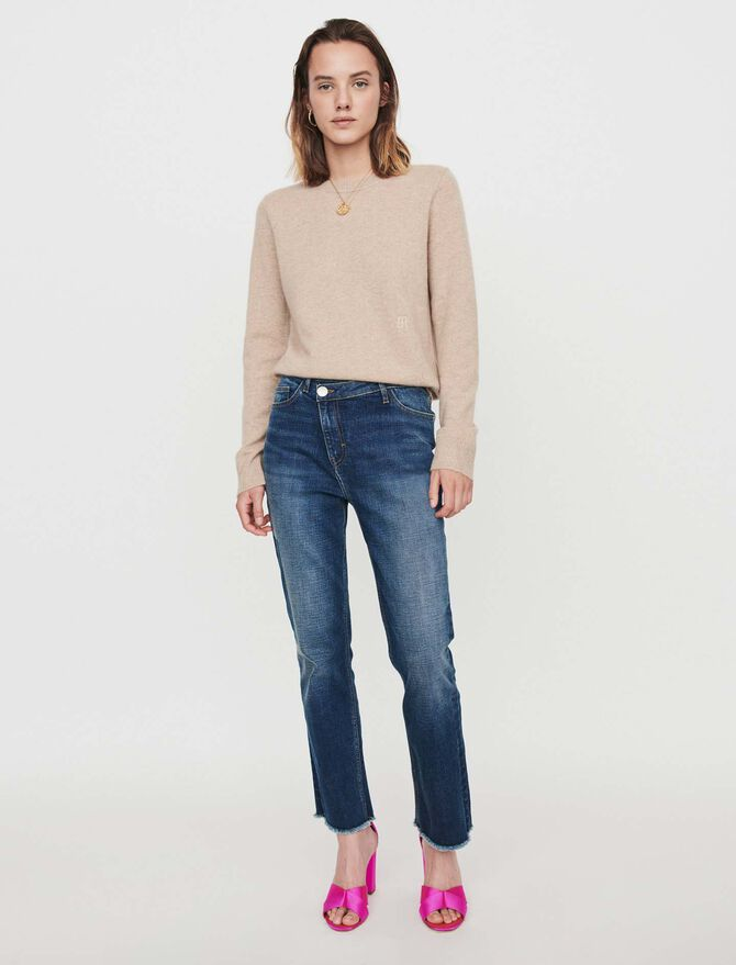 Patched jeans with offset belt - Trousers & Jeans - MAJE