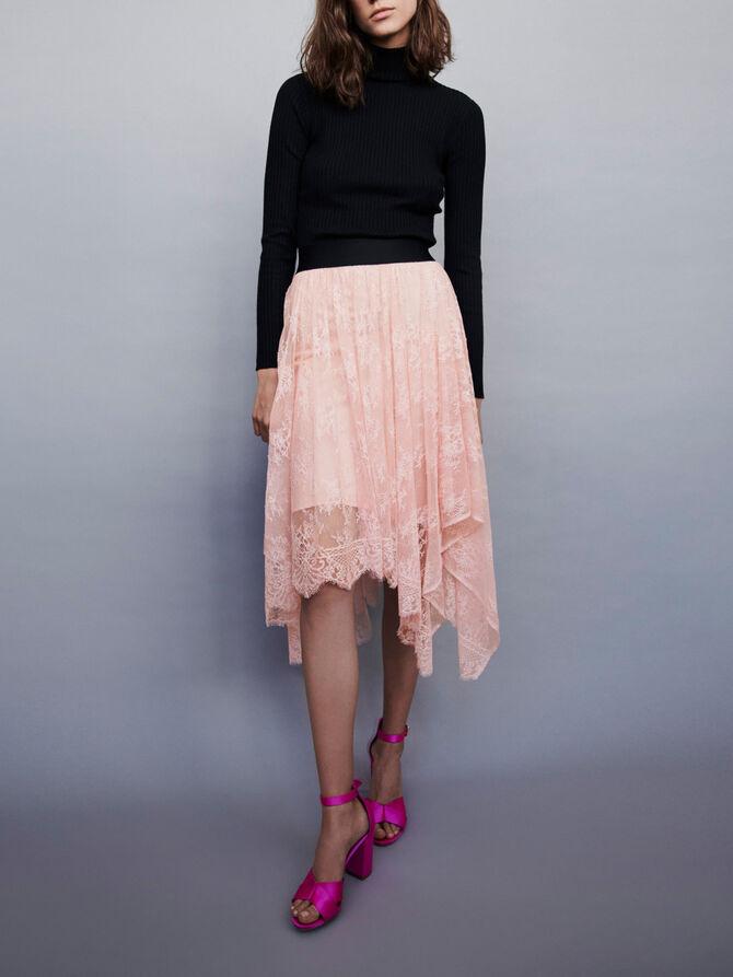 Elasticated asymmetrical lace skirt -  - MAJE