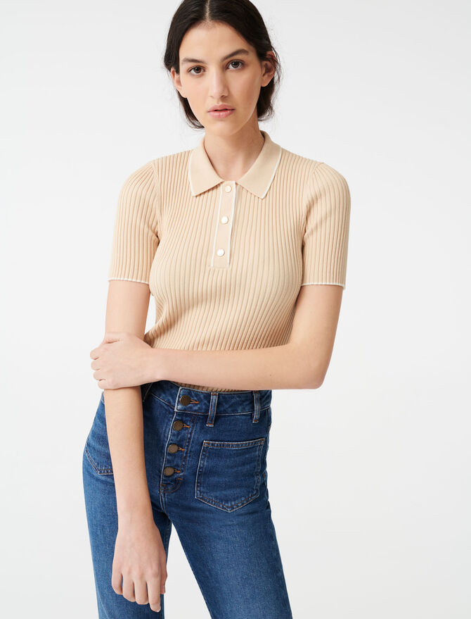 Ribbed polo sweater -  - MAJE