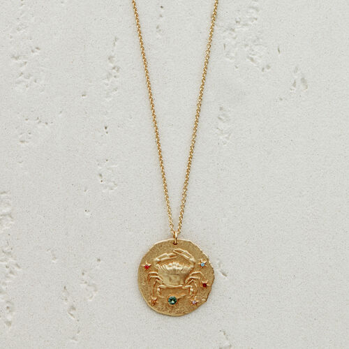 Cancer zodiac sign necklace : See all color GOLD