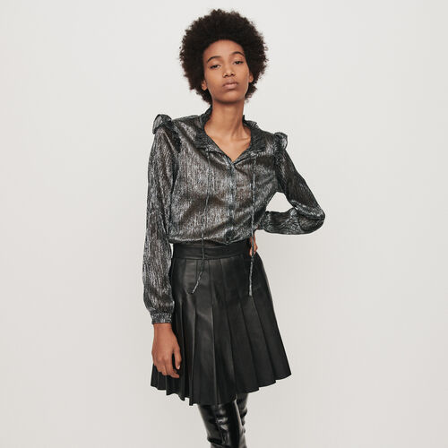 Lurex ruffled shirt : Winter collection color Silver
