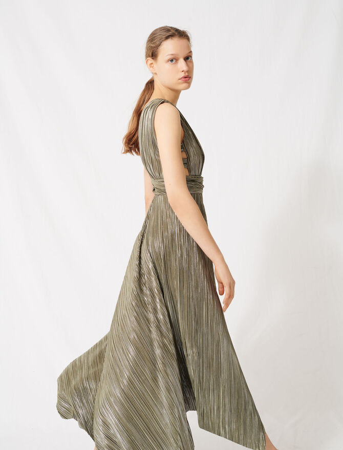 Dress covered with metallic threads - Dresses - MAJE