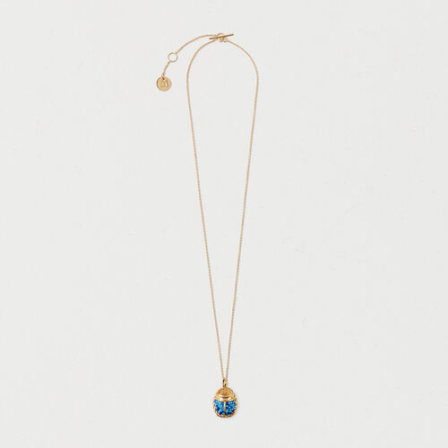 Necklace with blue beetle : New in color GOLD