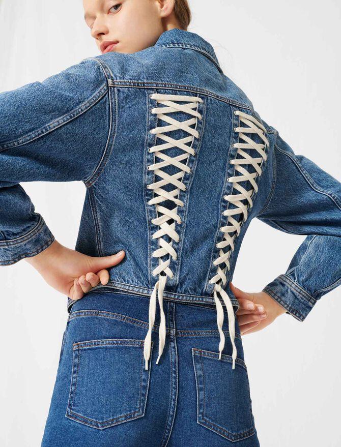 Denim jacket, corset lacing at the back -  - MAJE