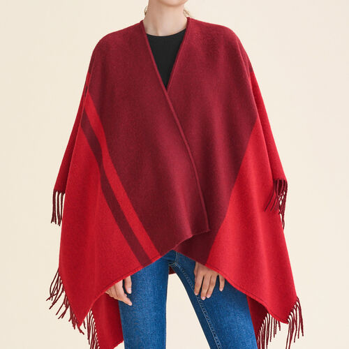 Two-tone fringed poncho : Accessoires color Ecru