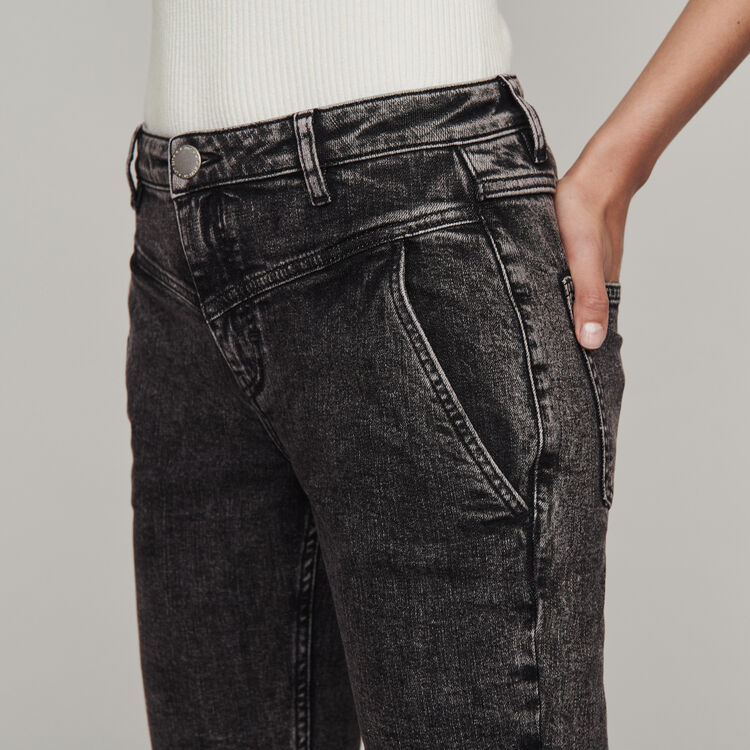 High-rise faded jeans : Trousers & Jeans color Anthracite
