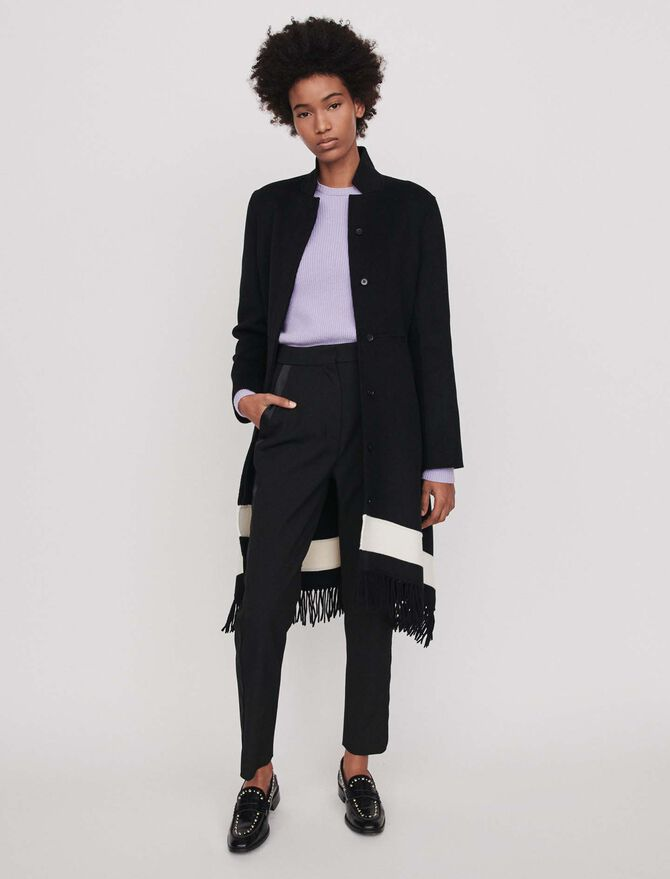 Double face coat with fringe - Coats & Jackets - MAJE