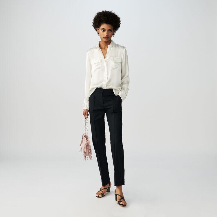 Silk satin shirt : Campaign FW19 color White