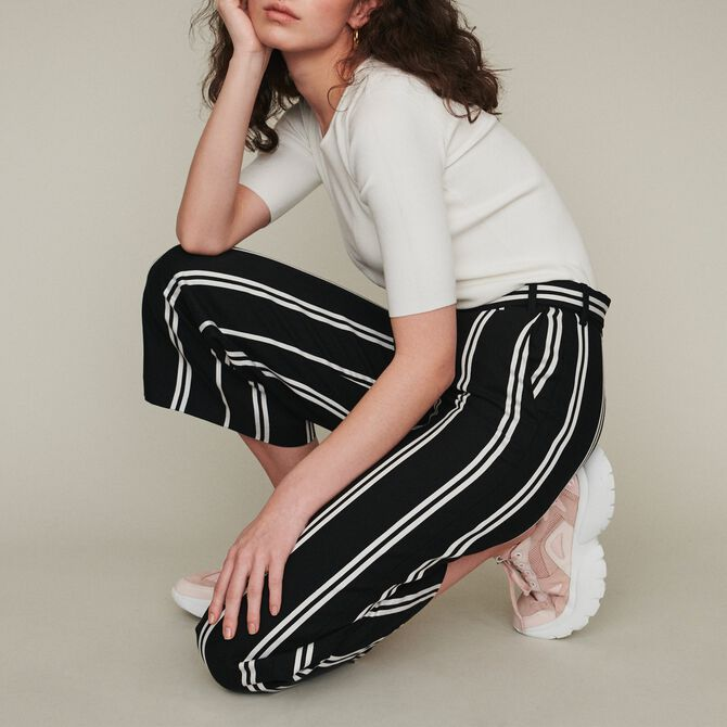 Wide 7/8 striped pants - Trousers & Jeans - MAJE