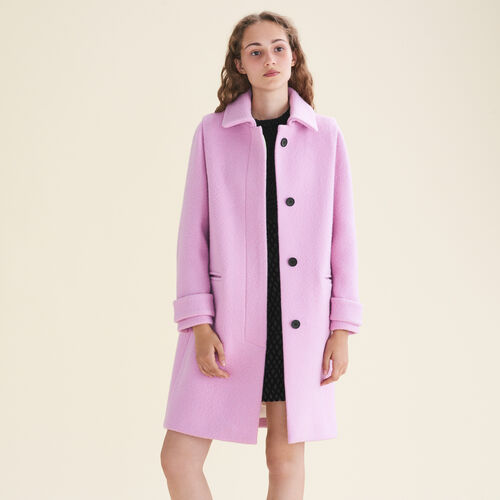 Straight-cut coat in virgin wool : Coats color Pink