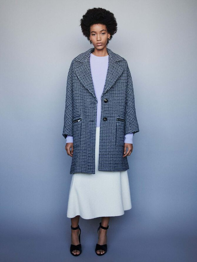 Manteau à carreaux et poches zippées -  - MAJE