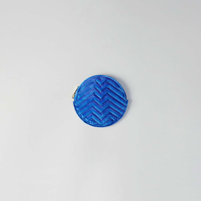 Round quilted velvet coin purse -  - MAJE