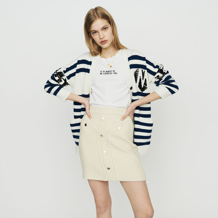 Striped cardigan embroidered : Pullovers & Cardigans color Ecru