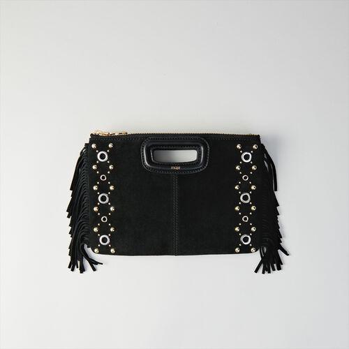 Pochette M Duo en suède et œillets : Sacs_MDUO couleur Noir