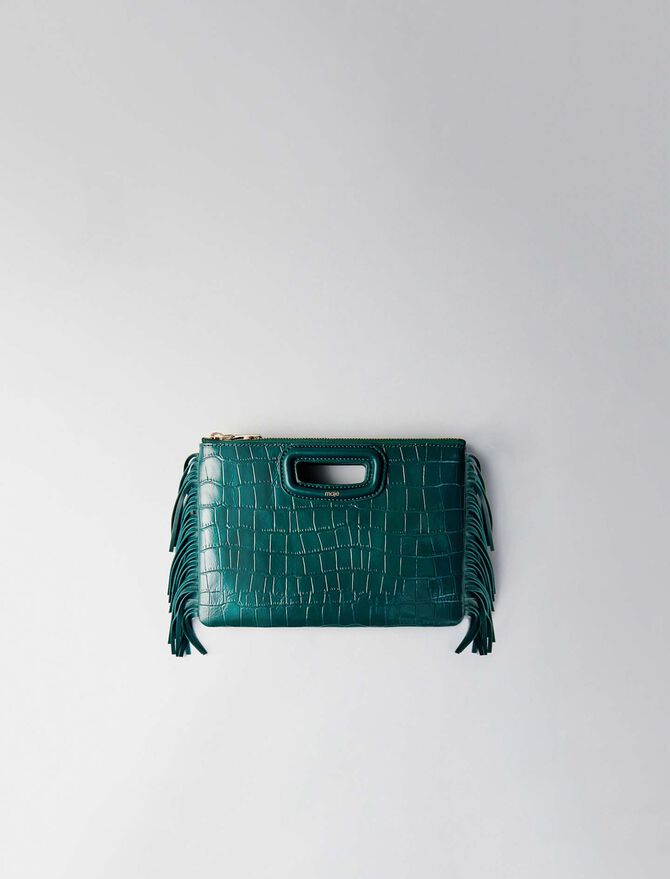 Crocodile effect-leather M Duo clutch - M Duo - MAJE