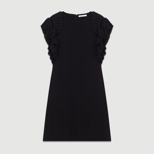 Straight cut dress with pleated sleeves : Majexclusive color Black 210