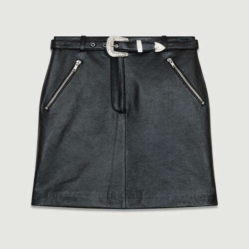 Short leather skirt : Skirts & Shorts color Black 210