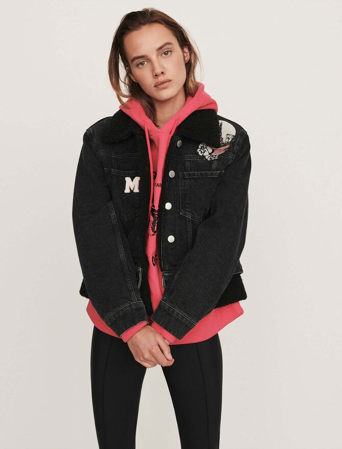 Jean jacket with embroidered patches - Jackets & Blazers - MAJE