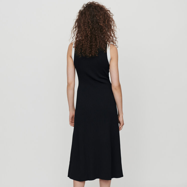 Split and contrasting ribbed dress : Dresses color Black