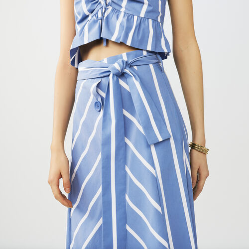 Belted midi skirt with front poppers : Skirts & Shorts color Blue