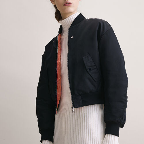 Cropped reversible bomber jacket : Jackets & Blazers color Black 210