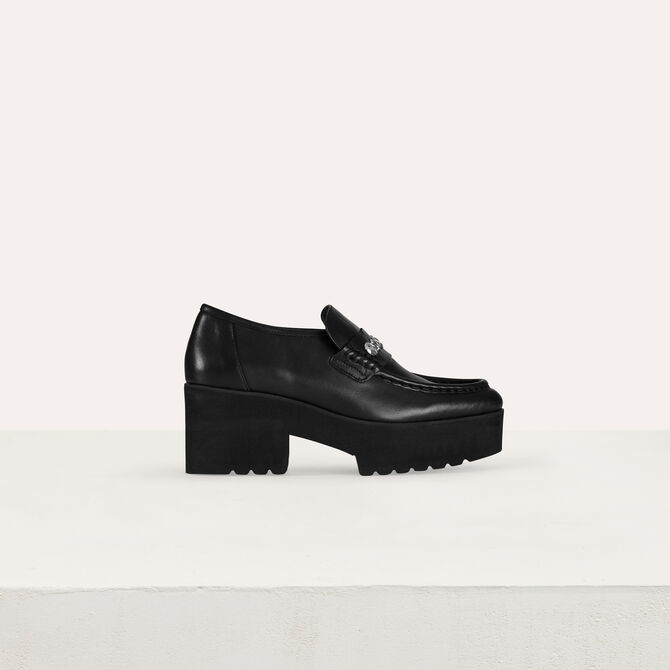 Platform loafers in leather and studs - Accessories - MAJE