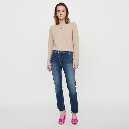 Patched jeans with offset belt : Trousers & Jeans color Blue