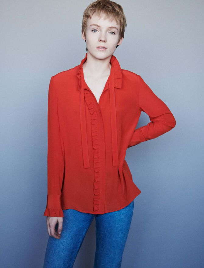 Silk ruffled pussy-bow shirt - Tops & Shirts - MAJE