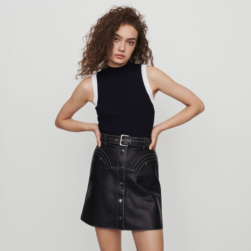 Light sleeveless contrast ribbed sweater : Winter collection color Black