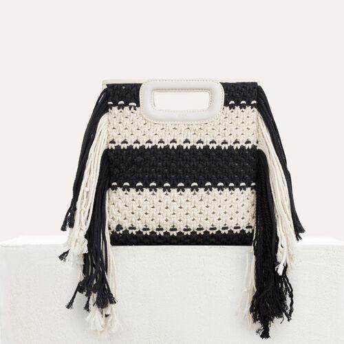 Knitted bag with fringes : M bag color Black 210