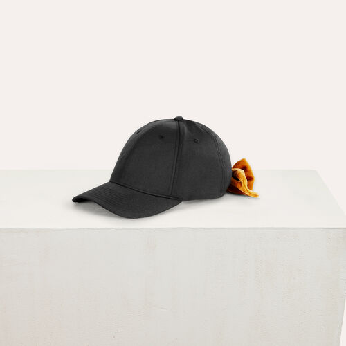 6-panel cap with velvet bow : Other accessories color Black 210