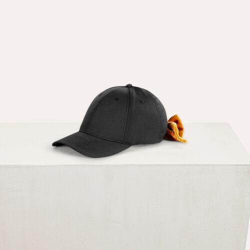 6-panel cap with velvet bow : Accessoires color Black 210