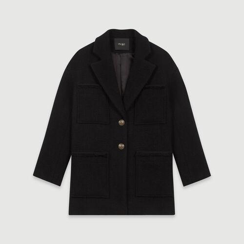 Tweed-style coat : Coats & Jackets color Black