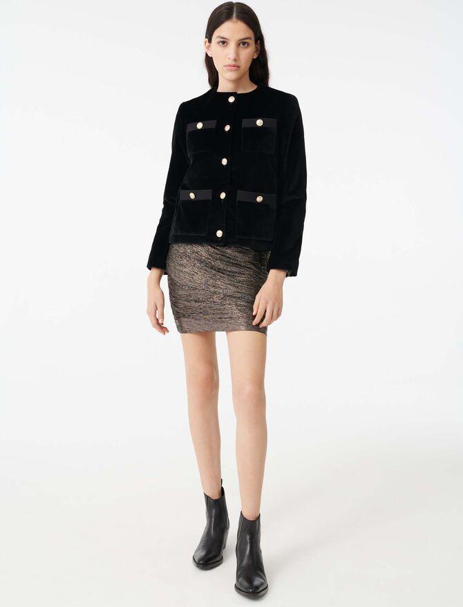 Velvet jacket with 4 pockets - SoldesFR_ALL - MAJE