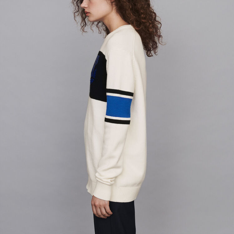 Sequin sweater with contrasting details : Pullovers & Cardigans color Ecru