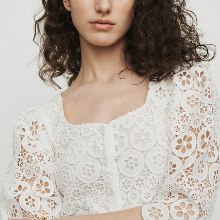 Cropped top in daisy guipure : Tops color WHITE