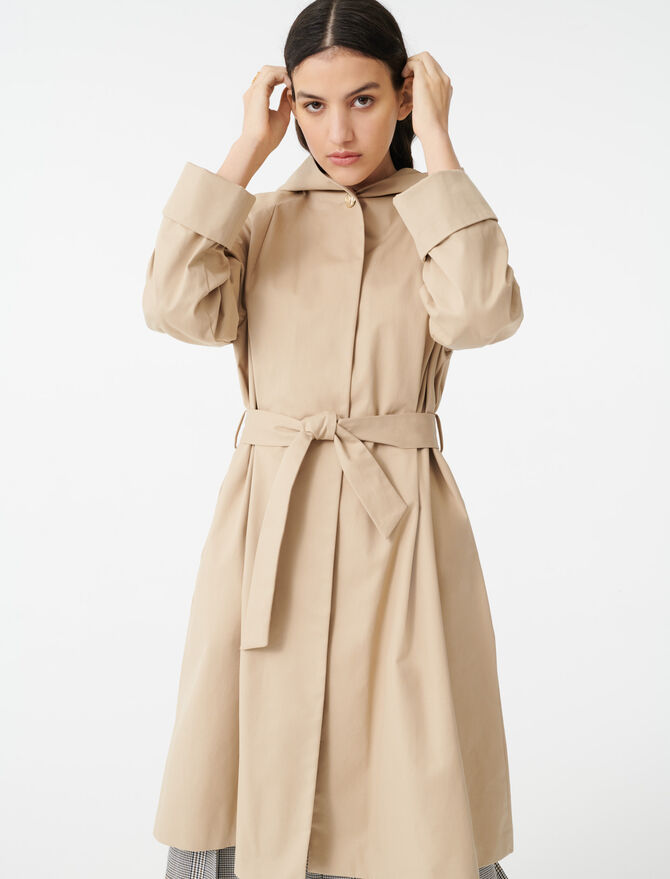 Hooded trench coat with belt -  - MAJE