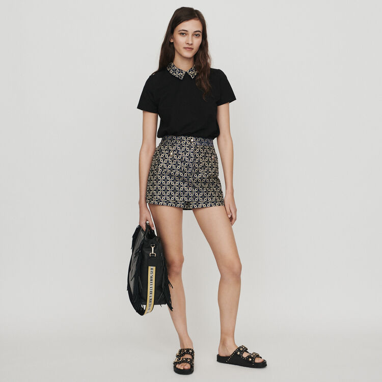 T-shirt with contrast collar & jewels : T-Shirts color Black 210