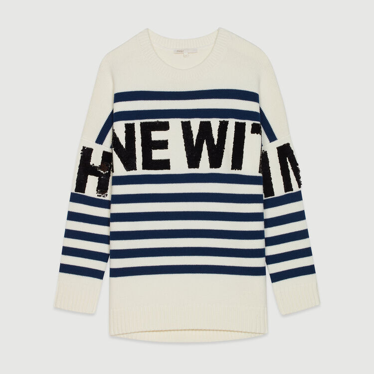 Sailor striped sweater in wool blend : Pullovers & Cardigans color Ecru