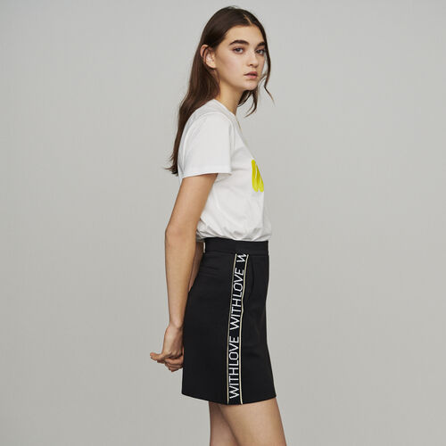 Short skirt with slogan band : Skirts & Shorts color Black 210