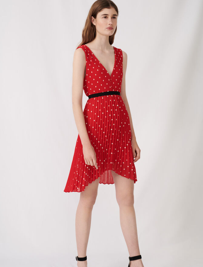 Embroidered and pleated dress - Dresses - MAJE