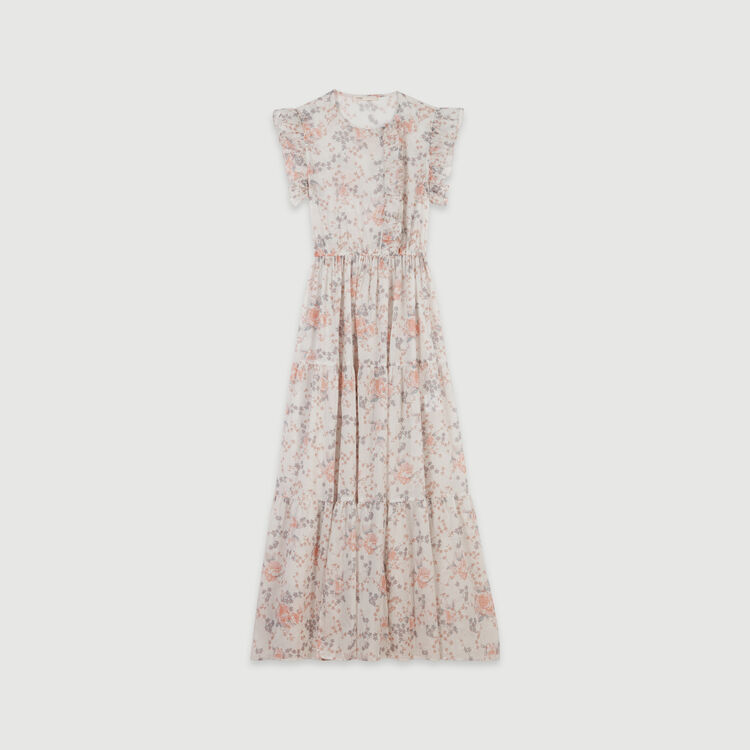 Long floral-print ruffled dress : Dresses color Pink