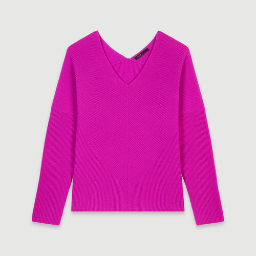 Cashmere V-neck sweater : Pullovers & Cardigans color Purple