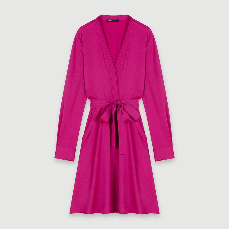 Satin dress with elasticated waistline : Dresses color FUCHSIA