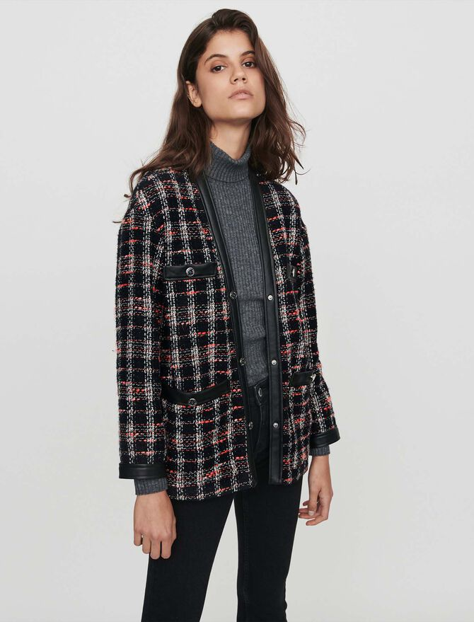 Tweed-syle contrast jacket - Jackets & Blazers - MAJE