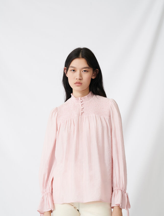 Smocked blouse with puff sleeves -  - MAJE