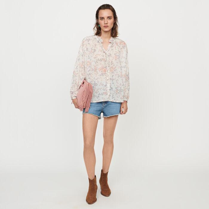 Floral-print cotton voile shirt : Tops & Shirts color Pink