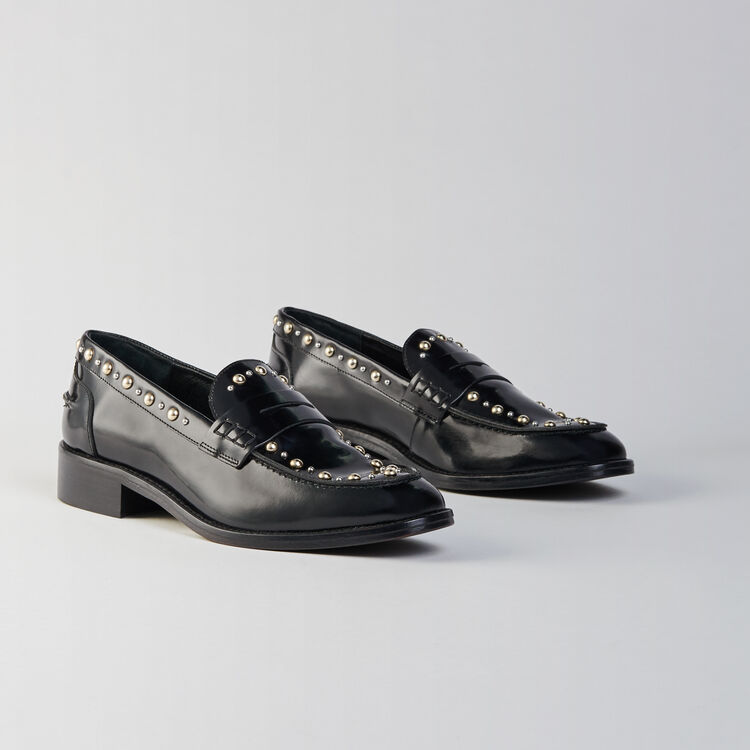 Studded glazed leather moccasins : Flat shoes color Black